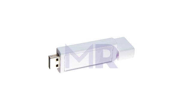 Biały pendrive wysuwający USB przy przekręcaniu
